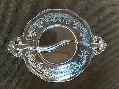 Clear Depression Glass Two Section Floral Etched Candy/Condiment Dish