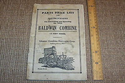 Rare 1929 Baldwin Combine Instruction Operation Manual Old Antique Farm Tools