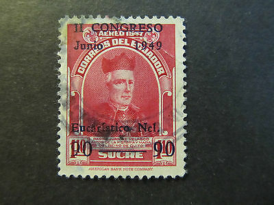 1949 - Ecuador - Surcharged In Blue - Scott C209 A185 90C On 1,10S