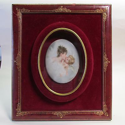Antique Oval Hand Painted Porcelain Plaque Signed WAGNER in a Custom Frame