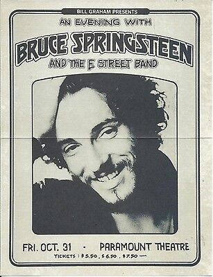Bruce Springsteen 1975 Paramount Theatre Concert Flyer Poster E Street Band
