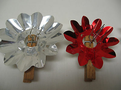 Vintage Unique Primative Christmas Tree Candle Holders w/ Reflectors Handmade 28