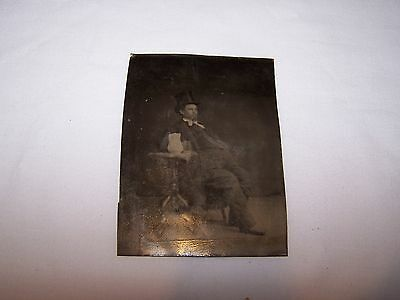 Antique Tintype of Large Gentleman with Top Hat