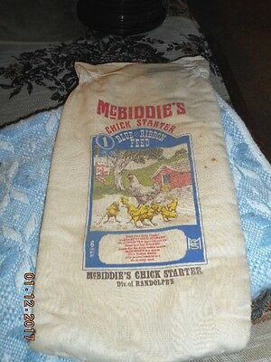 Vtg  Cotton Cloth Mcbiddie's Chick Stater Feed Bag