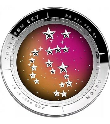 2014 Australia Southern Sky Orion 1 Oz Silver Proof Colored Domed $5 Coin