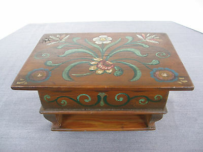 Vintage Pennsylvania Dutch? miniature wood folk art storage box on runners