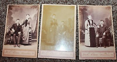 Vintage Couples Cabinet Cards Lot of Three
