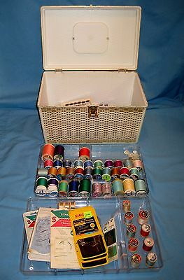VTG WIL-HOLD WILSON USA Basket Weave PLASTIC SEWING BOX W/2 TRAYS & Notions!