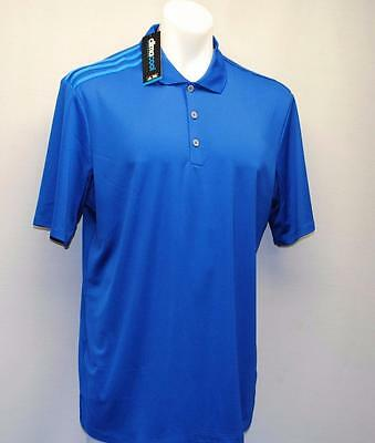 New Mens adidas climacool 3 stripes polyester golf shirt Large  Blue