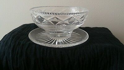 Stuart Crystal Vintage Art Deco Dimond Cut Fruit / Dessert Bowl