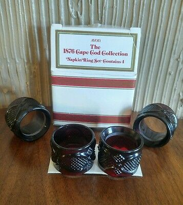 Avon Cape Cod Collection Napkin Ring Set of 4 in Original Box Ruby Red