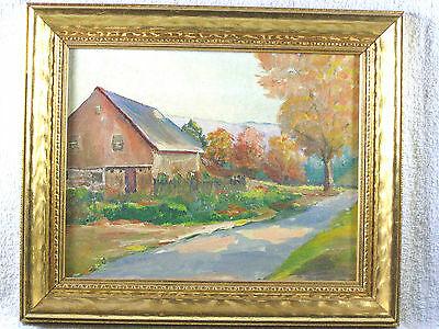 Framed Older Oil Painting - Autumn Landscape with Barn - by Rhada Stakes