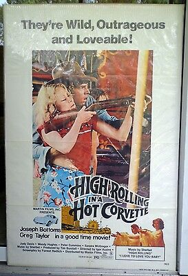 High Rolling in a Hot Corvette movie poster vtg original 1977 one sheet