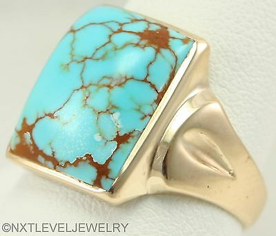 Antique Art Deco RARE Natural Nevada #8 Mine Turquoise 10k Solid Gold Men's Ring