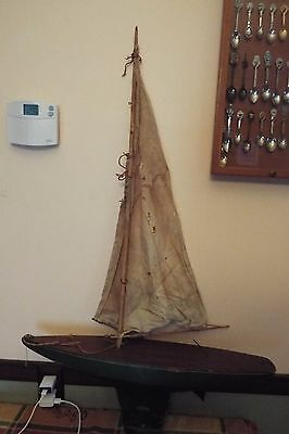 "Vtg Jacrim Wooden Seaworthy Boats Flying Cloud Large Pond Boat 42"" Tall 25"" Wide"