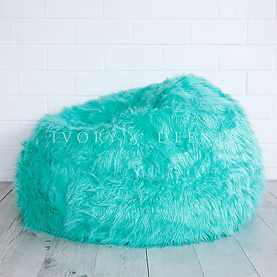 FUR BEANBAG Cover Top of the Range Turquoise Super Luxe Chair Lush Soft Bean Bag