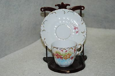 Small Demitasse Cup & Saucer Porcelain Floral / Gold - Hand Painted Accents