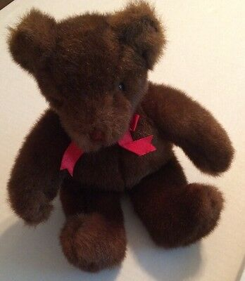 Ty Dark Brown Bear with Red Bow From 1995