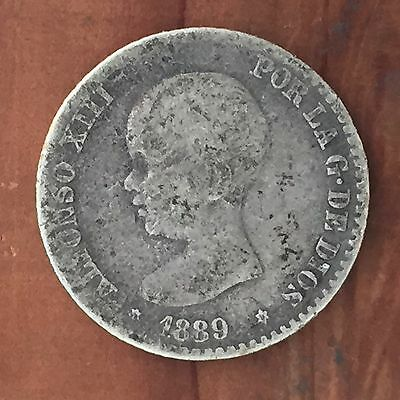 Spain 50 Centimos 1889 - Silver, Alfonso XIII, 1st Year, Low Year