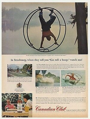 1963 Strasbourg Hoop Rolling Canadian Club Whisky Ad