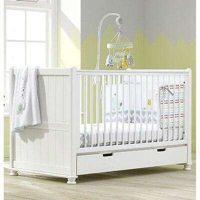 Hampton Cot Bed, Nursery Baby Crib, Converts into Junior & Day Bed - White