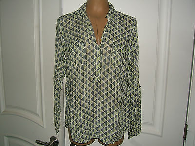 Splendid Green/Black/White Pattern Long Sleeve Tunic Shirt Blouse  Women's Sz M