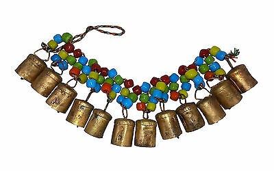10 x Chime/Hanging 12 Cow Bells w Coloured Beads, Positive Energy & Prosperity
