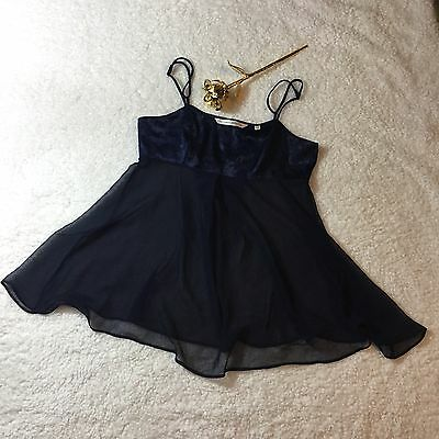 Victoria Secret Baby Doll Navy Sheer Lingerie Top