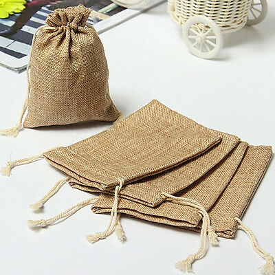 10 Pcs Small Burlap Natural Linen Sack Jewelry Pouch Drawstring Bags Gift New