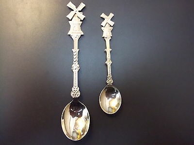 2 Vintage Ornamental/souvenir Tea-Spoons Windmills Holland.