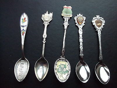 5 Vintage Ornamental/souvenir Tea-Spoons For Canada.ontario,parliament Buildings