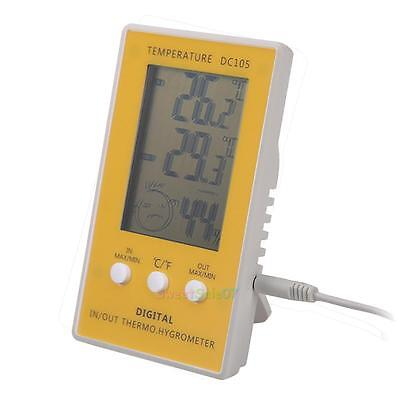 LCD Digital In/Out door Temperature Thermometer Hygrometer Humidity Meter Clock