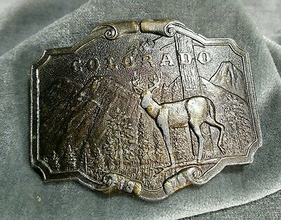 Vintage Brass Belt Buckle Colorado Buck Wyoming Studio Art Works 1876-1976
