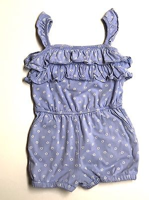 Baby Gap 2T Girl VGUC Blue Floral Daisy Ruffle Sleeveless Short Romper One Piece