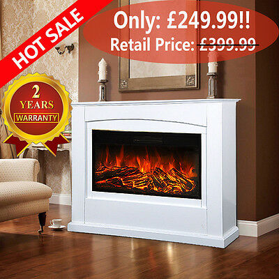 "48"" XXXL Electric Fireplace Suite Danby Fire Light Cream MDF Surround Remote Set"