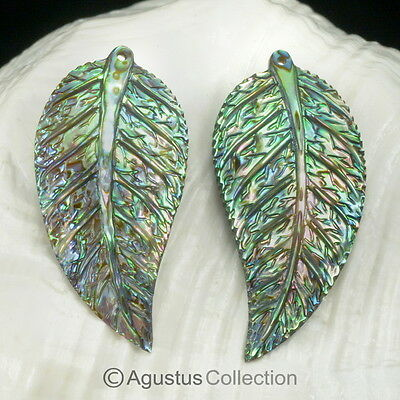 Multicolor PAUA ABALONE SHELL Iridescent Tropical Leaf Earring PAIR 2.93 g