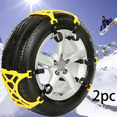 2pcs Car Wheel Snow Tyre Anti-skid Chains Safety Tire Chains Beef Tendon TPU Set
