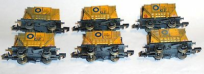 6x Graham Farish 'N' Scale Silos Blue Circle Cement Wagons Weathered. Used.