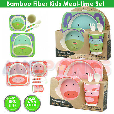 Bamboo Fiber Kids Plate Set Non Toxic BPA free Meal Time Cup Forks Spoon Bowl