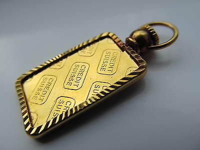 Vintage 24 ct gold credit suisse 5 gram pendant set in 22 ct gold pendant