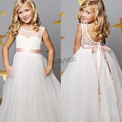 Flower Girl Dress Kids Princess Pageant Wedding Bridesmaid Birthday Party Dress