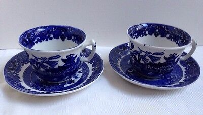 Pair of vintage Burleigh Ware Blue & White Willow Pattern tea cups and saucers