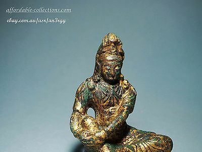 Antique Chinese Gilt Bronze Figure of Seated Kuanyin
