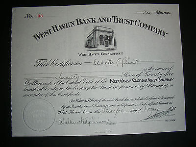 West Haven Bank and Trust Company, West Haven, CT, 1937