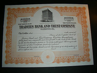 Traders Bank and Trust Company, Hazleton PA, unissued