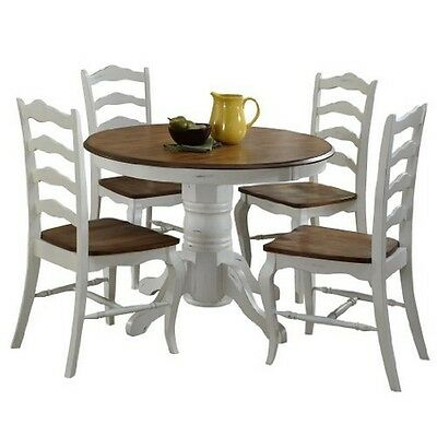 The French Countryside Oak and Rubbed White 5PC Dining Set Oak/White  NEW