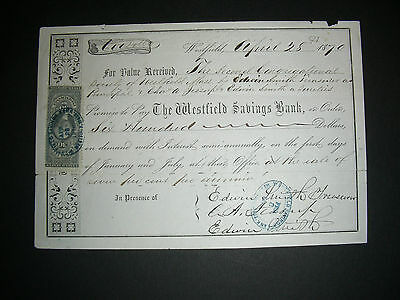 The Westfield Savings Bank, Westfield Mass, 1870, with 30 c revenue stamp