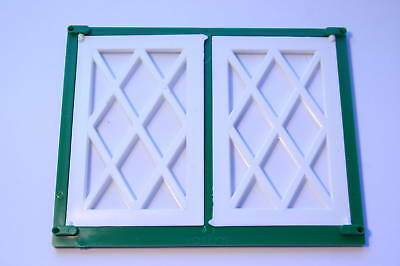 Dolls House Double Lattice Window White/green 1/16 Scale Use With Fixing Pins