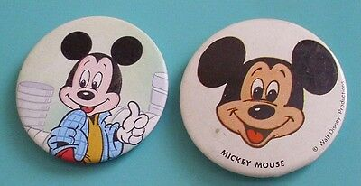 2 Mickey Mouse Button Pin Badges - Walt Disney