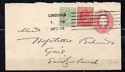 KING EDWAED VII PRE-PRINTED ENVELOPE DATED MAY 21 1906  1d RED PLUS STAMPS